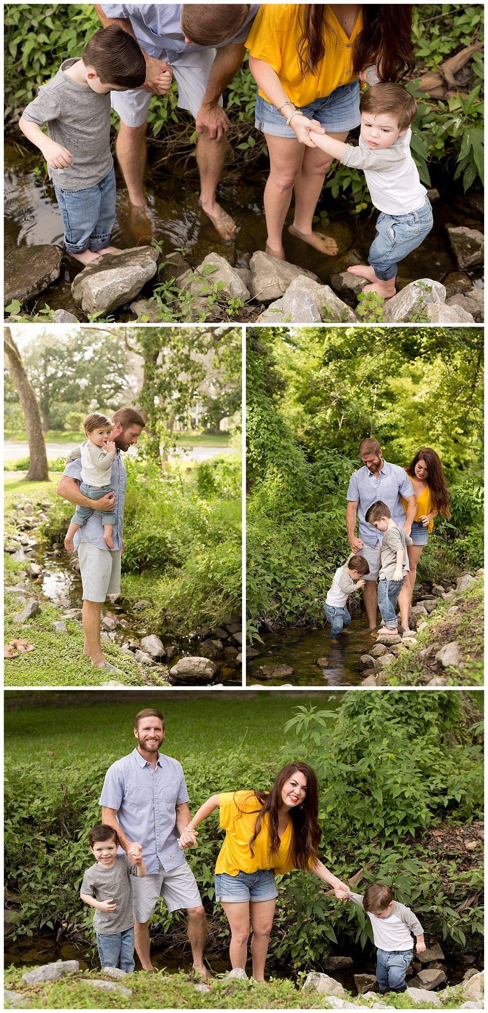 family photos wading in creek in Ocean Springs, MS