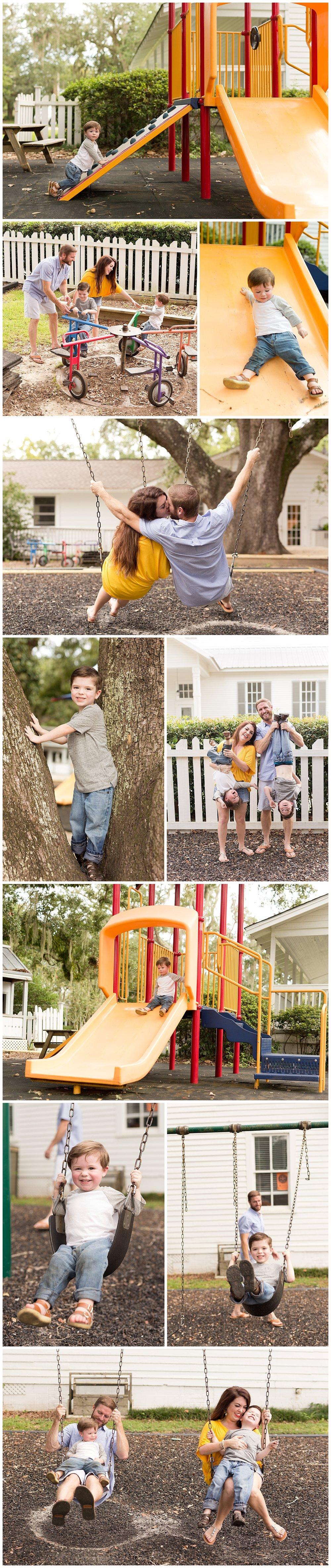 fun family pictures on playground - Ocean Springs family photos