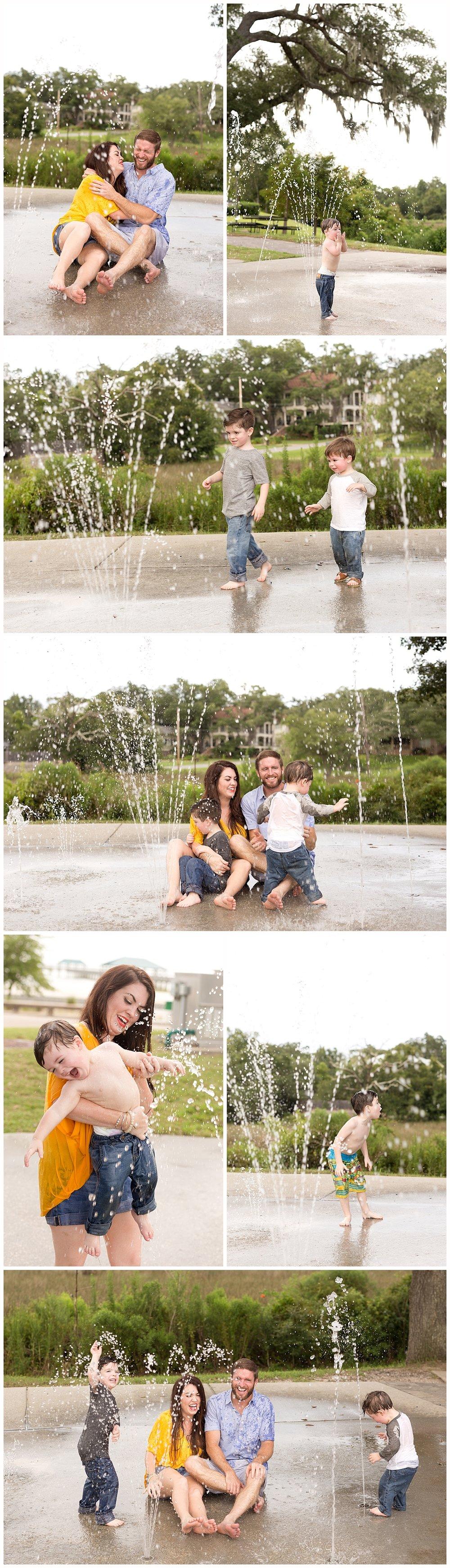 family having fun at the Fort Maurepas Splash Park - Ocean Springs, Mississippi family photographer