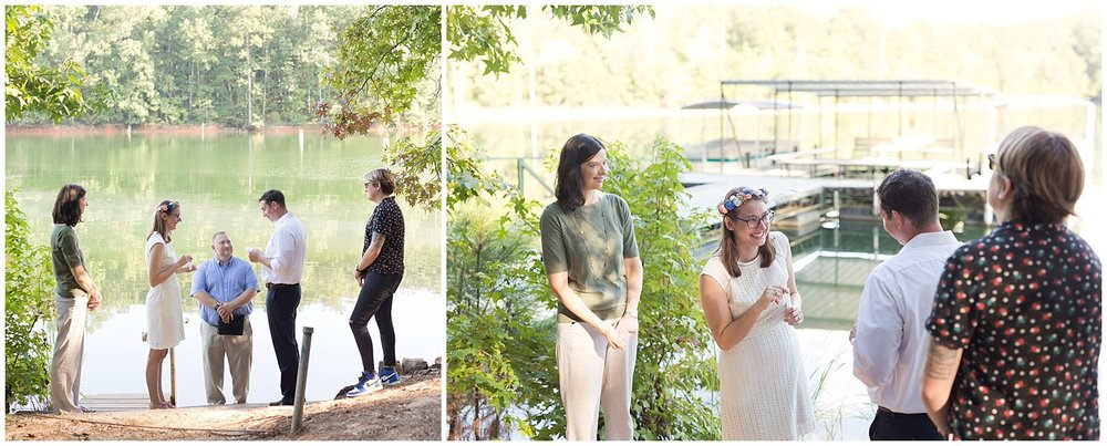 couple reading personal wedding vows by the lake - destination wedding photographer