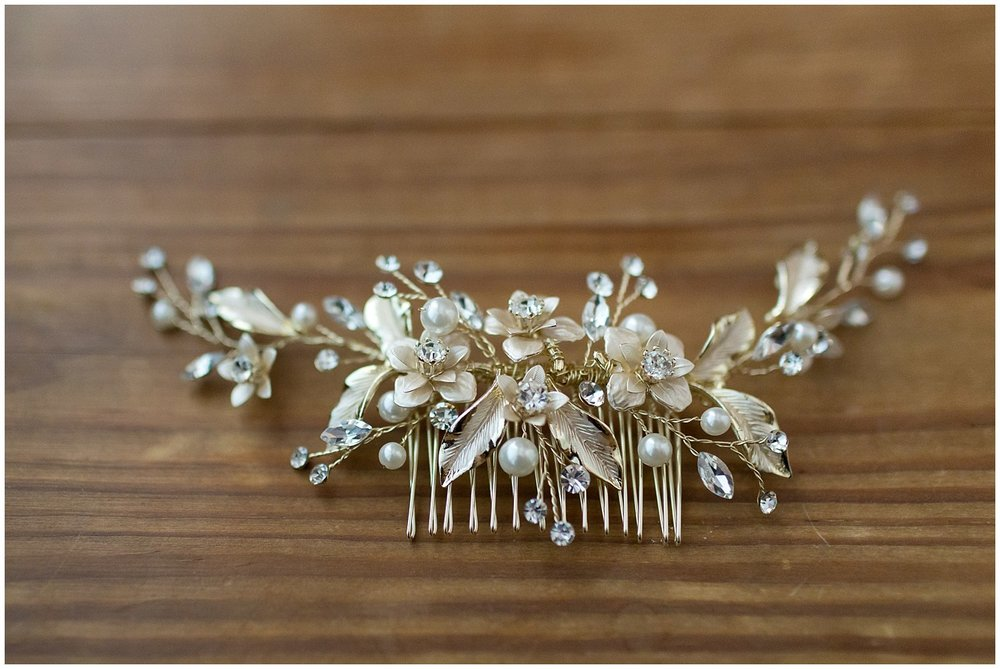 floral gold and pearl comb for bride
