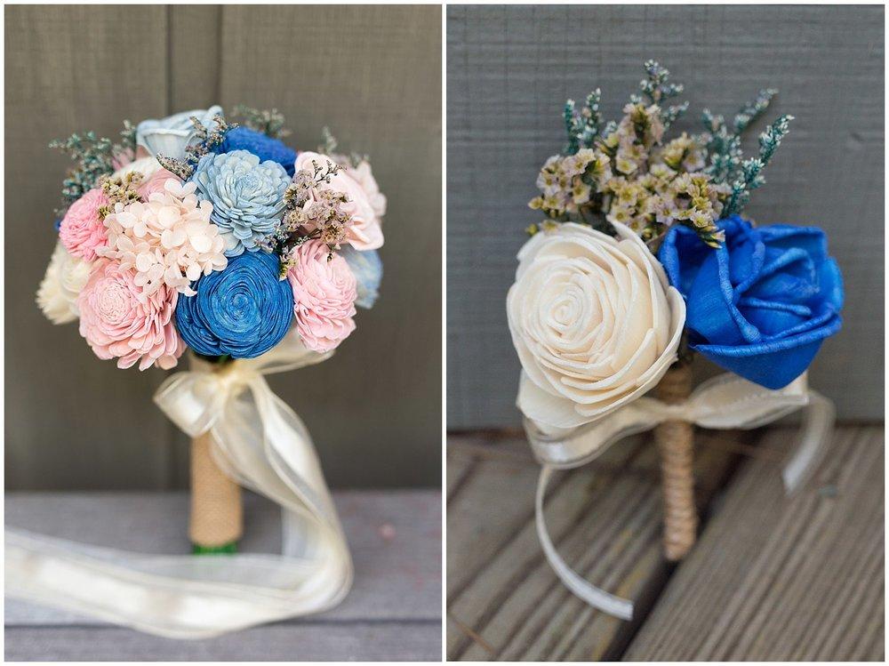 beautiful wooden bouquet and boutonniere