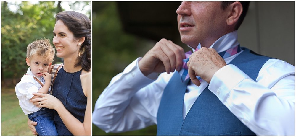 tying bowtie before wedding