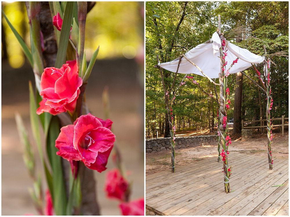 wedding chuppah with hot pink flowers