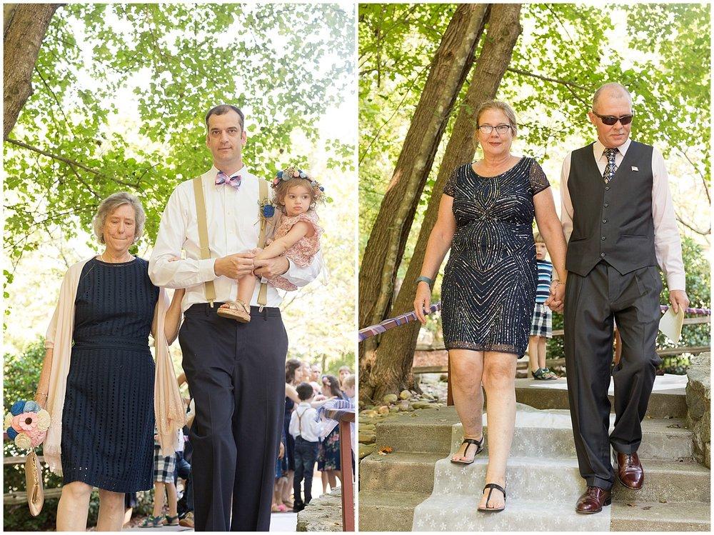 parents at wedding processional at camp wedding