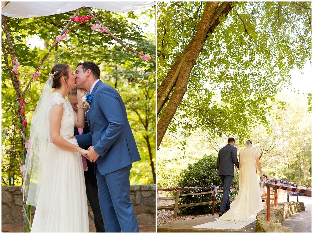 bride and groom kiss and recessional at Clemson Outdoor Lab