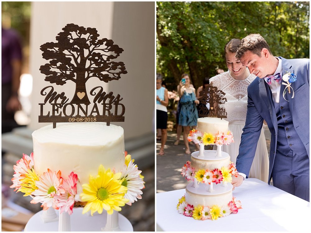 custom cake topper at outdoor wedding