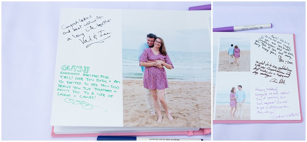 beach engagement photo album as wedding guestbook