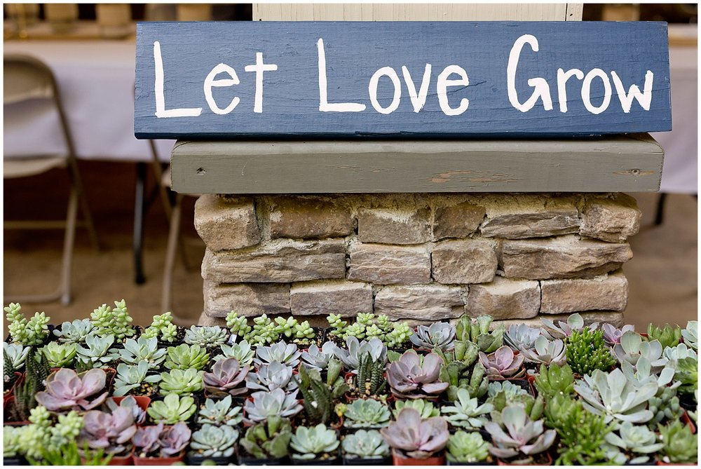 Let Love Grow sign with succulents - wedding favor ideas