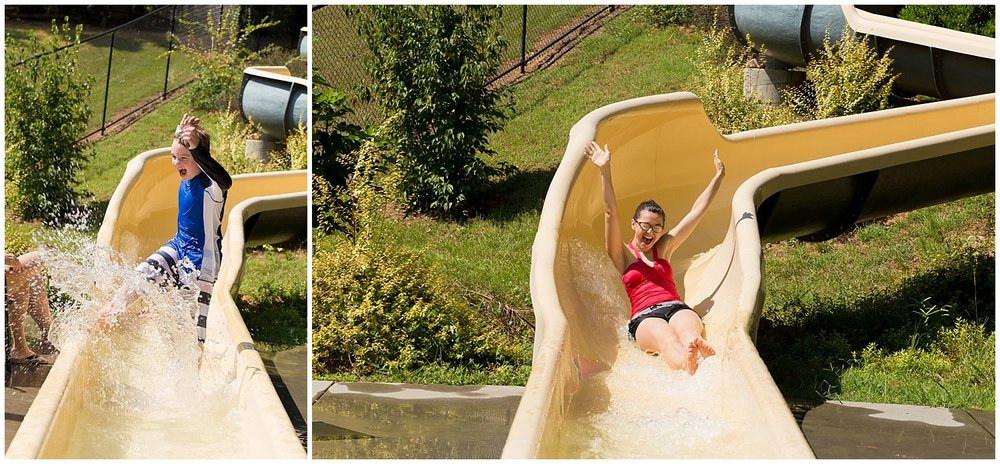 having fun on water slide
