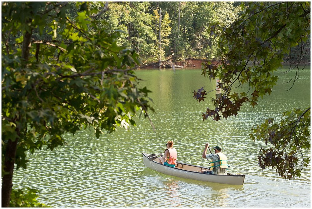 couple canoeing on lake at Clemson Outdoor Lab