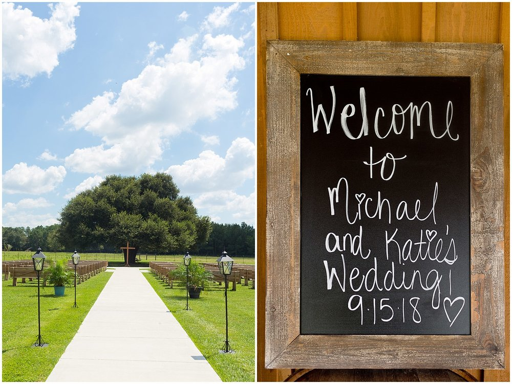 Chalkboard wedding sign and outdoor ceremony site in South Mississippi