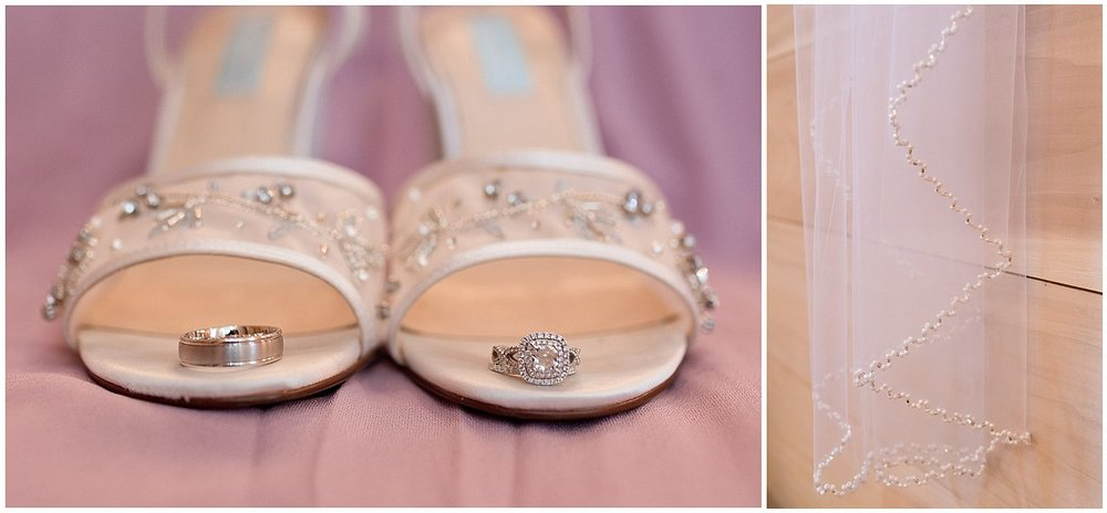 detail photos of bride's shoes, rings, and wedding veil - Kiln, MS wedding photographer
