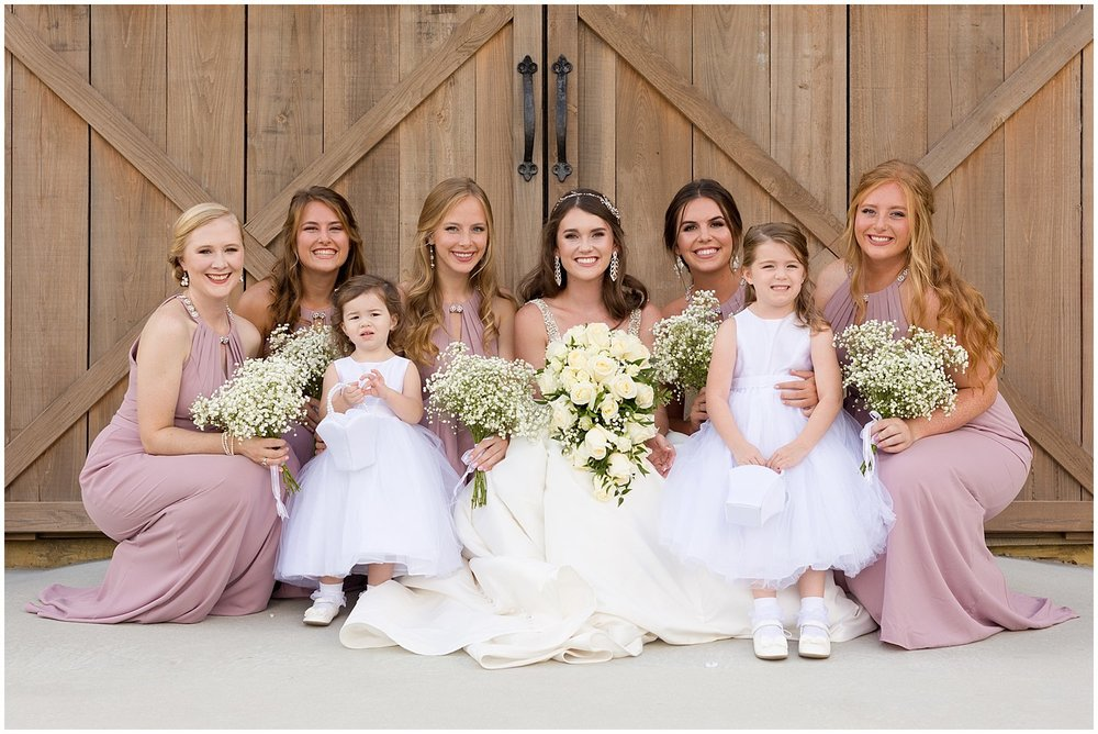 bridesmaids and flower girls at Kiln, MS wedding