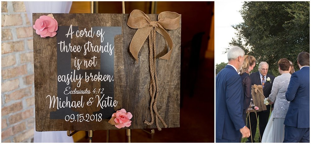 cord of three strands sign at wedding ceremony