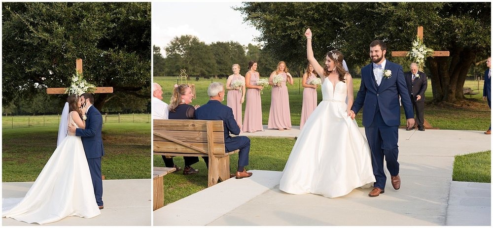 wedding recessional photo at outdoor wedding in South MS