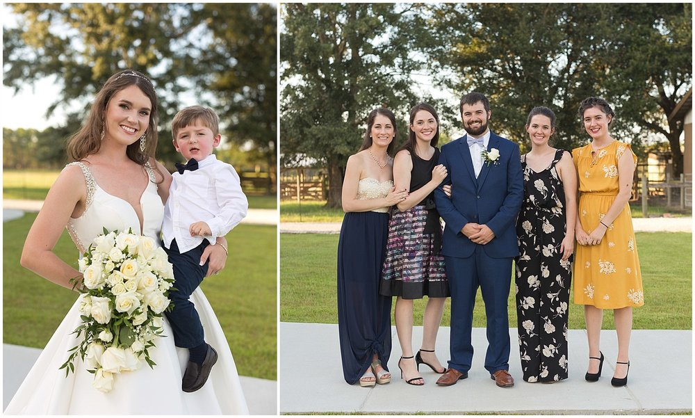 bride and groom with family at barn wedding in South MS