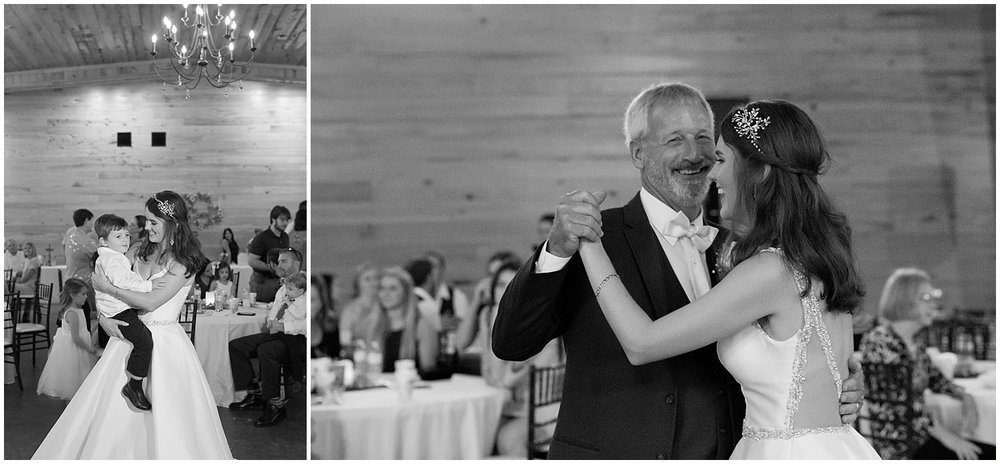 father daughter and mother son dance at wedding at The Barn at Love Farms