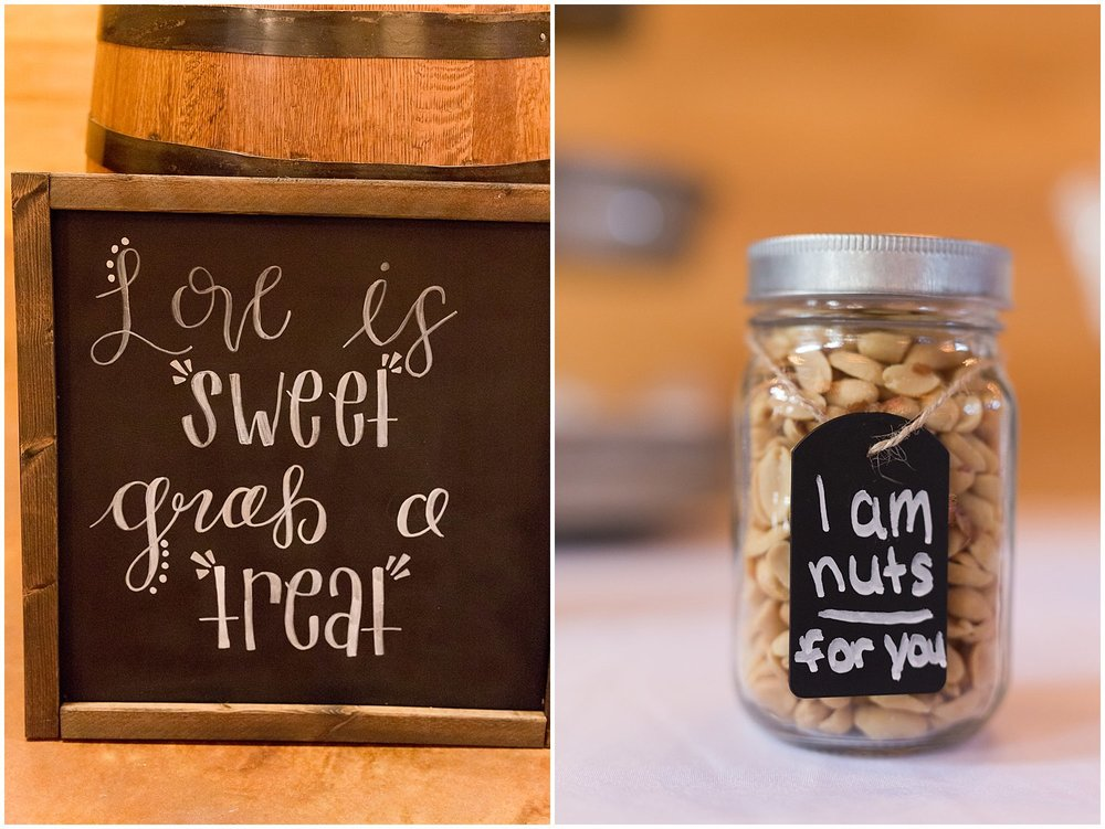 hand lettered chalkboard sign for wedding dessert table