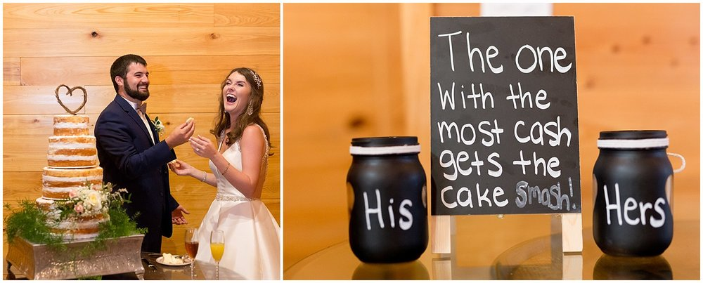 couple cutting cake with cute sign at The Barn at Love Farms