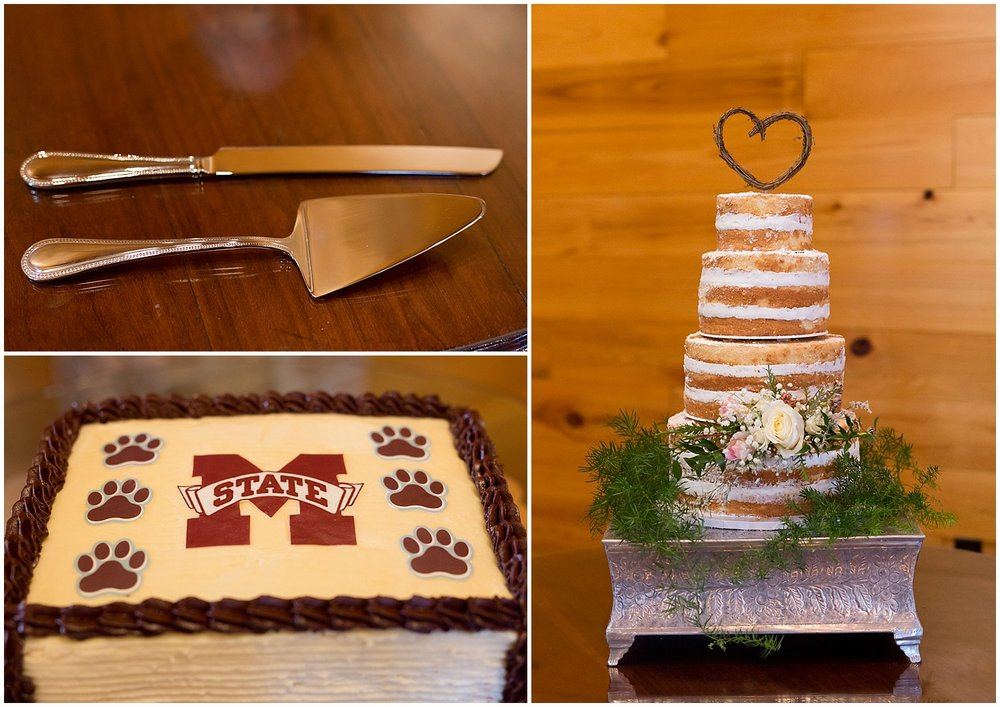 Mississippi State groom's cake at Kiln, MS barn wedding