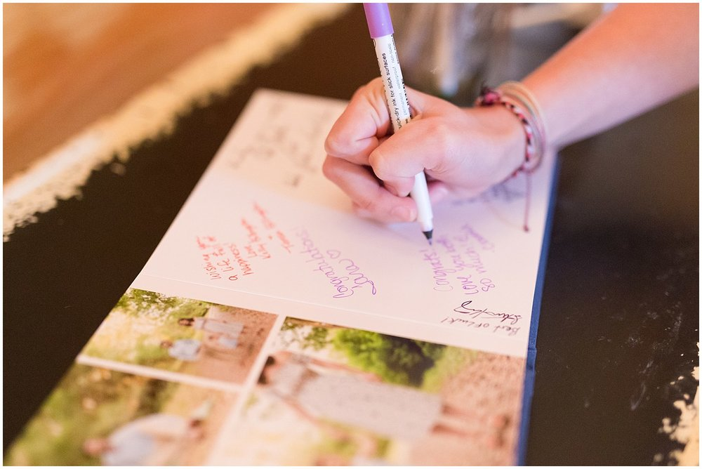 engagement photo album as wedding guestbook