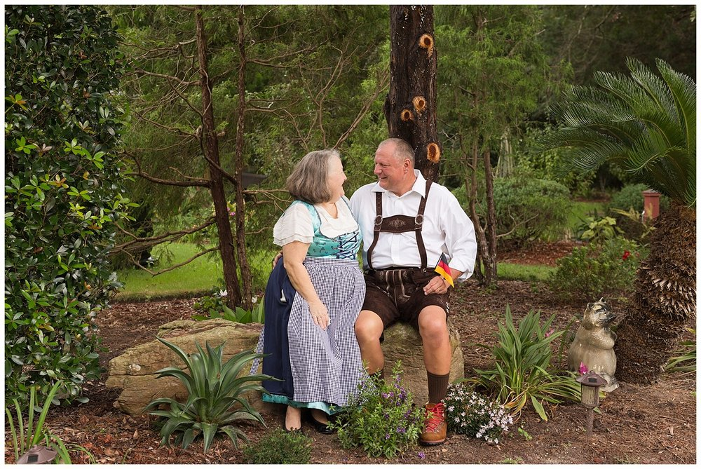older couple portrait with authentic dirndl and lederhosen authentic German attire