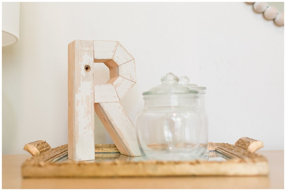 baby girl nursery decor - wooden monogram and glass jars