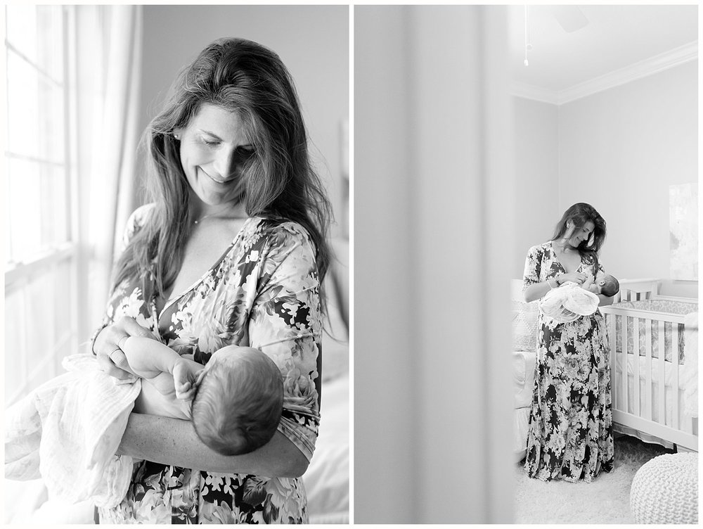 mom holding baby in nursery - Ocean Springs lifestyle photographer