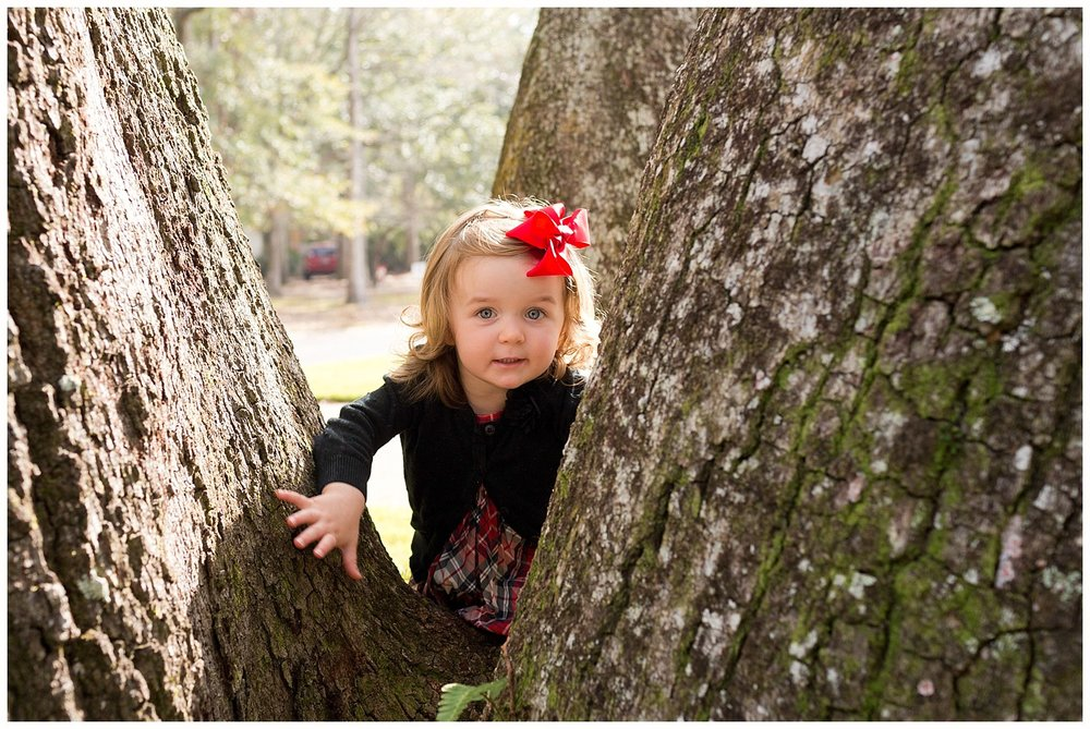 toddler girl playing on live oak tree in Sunday best
