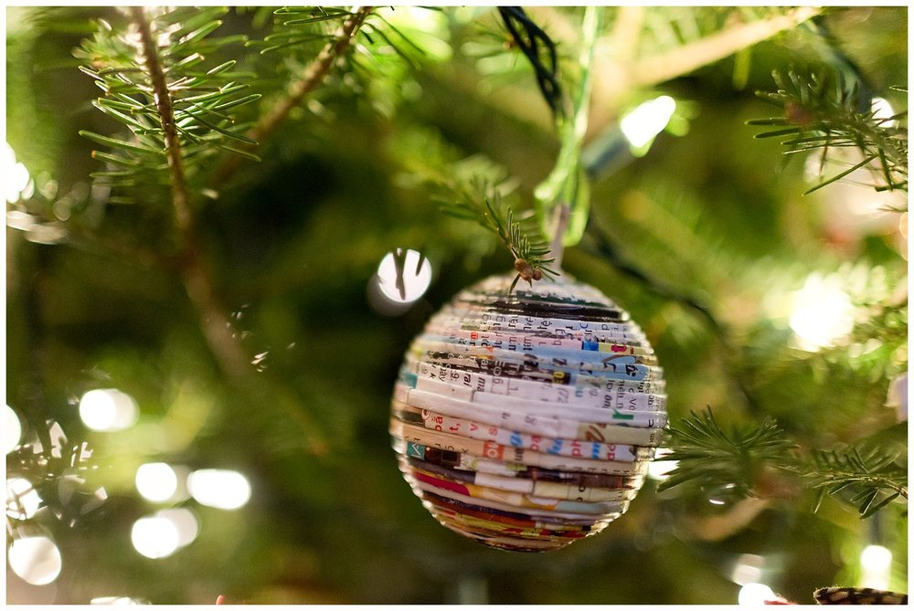 recycled paper Christmas ornament