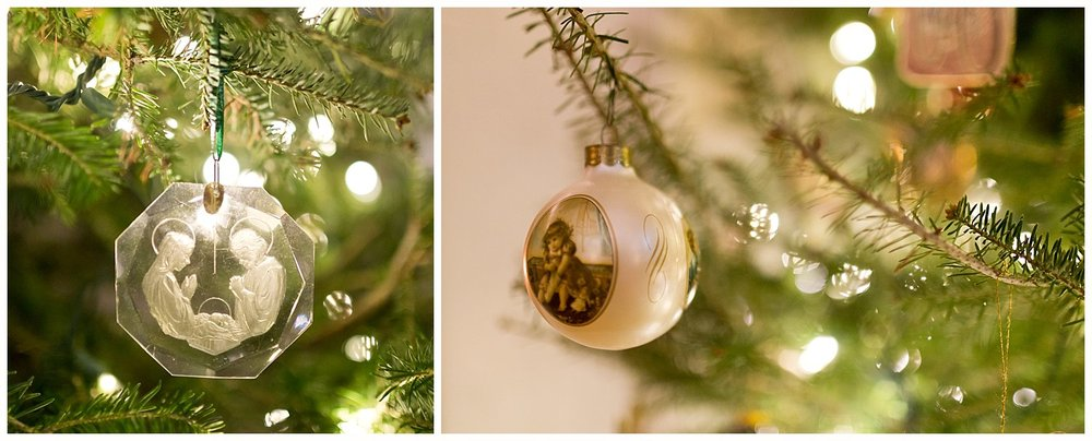 Christian Christmas ornaments on tree