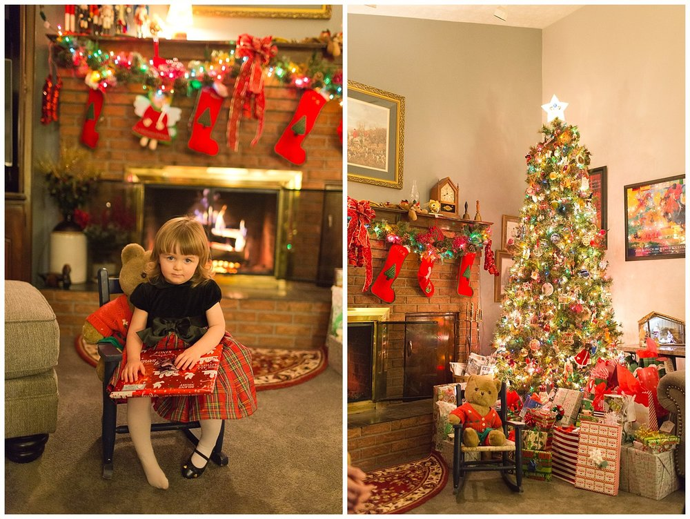 traditional Christmas Eve photos with little girl in rocking chair, fireplace, Christmas tree
