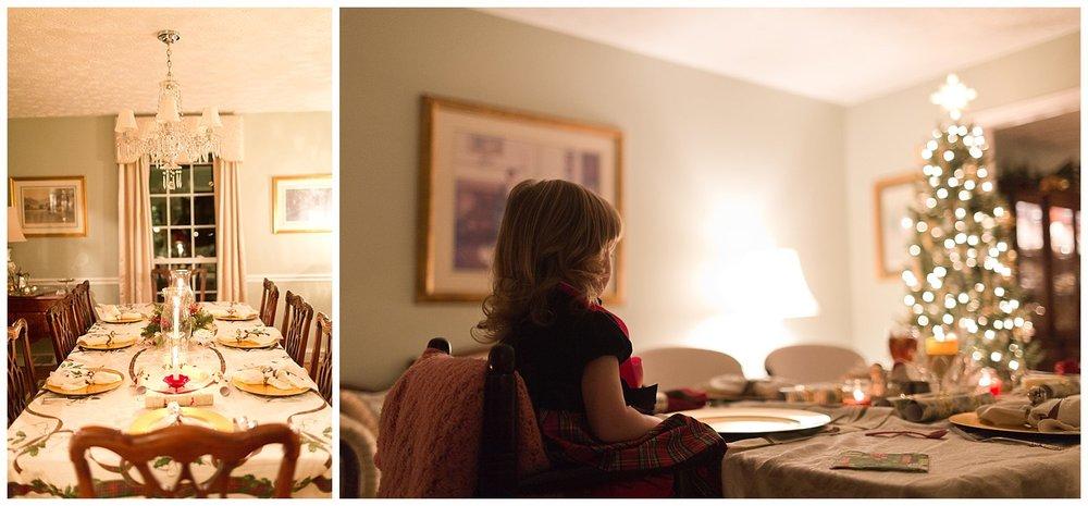 toddler girl at table for Christmas Eve dinner