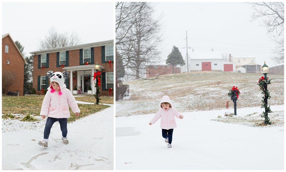 toddler girl in the snow
