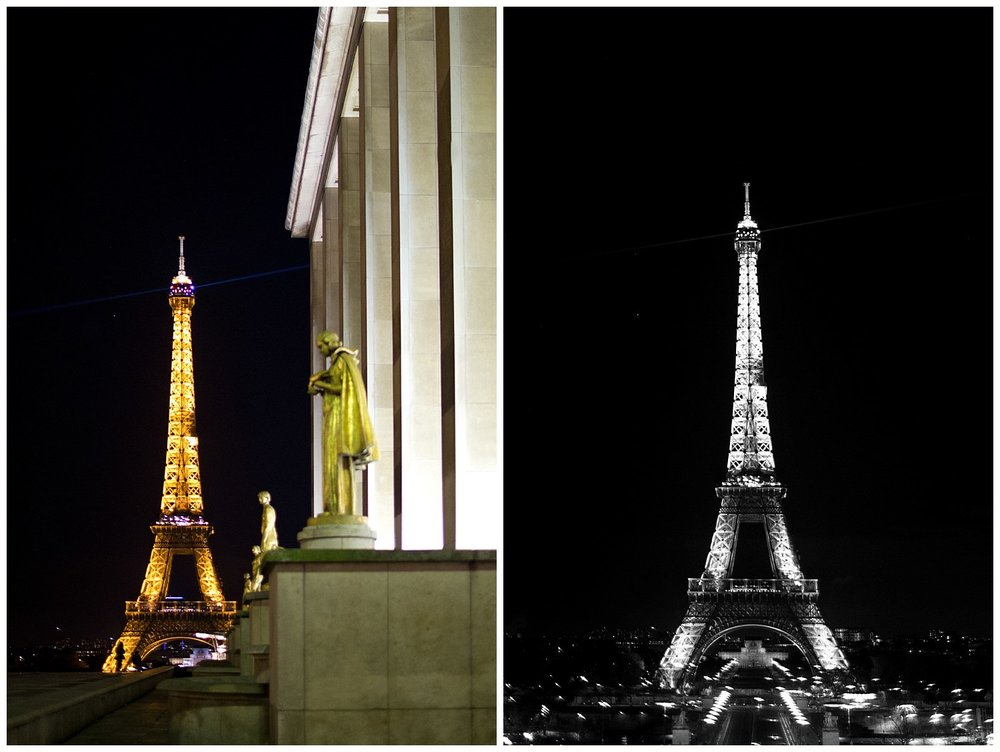 Eiffel Tower at Night in Color and Black and White