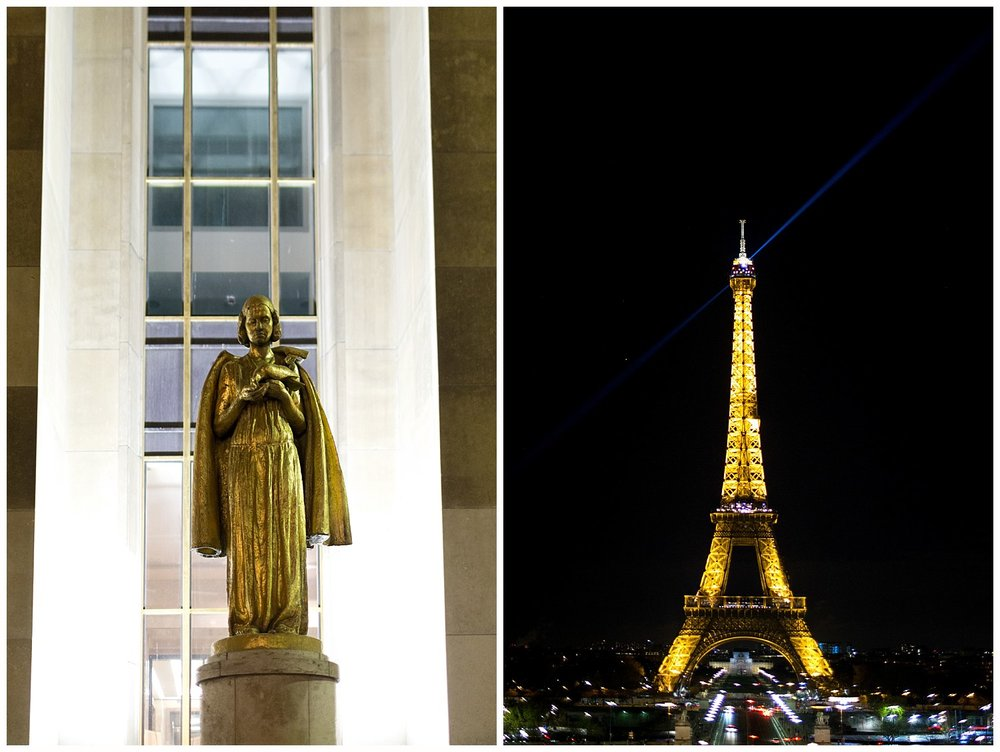 Eiffel Tower and statue at Musée de l'Homme at night in Paris, France