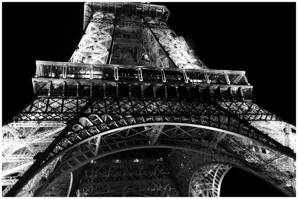 Eiffel Tower in black and white at night from below