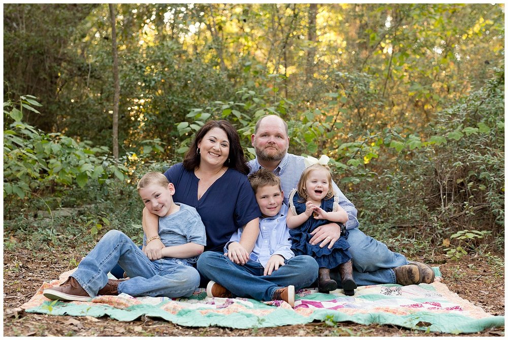 Ocean Springs family photographer - woods, vintage quilt family pictures