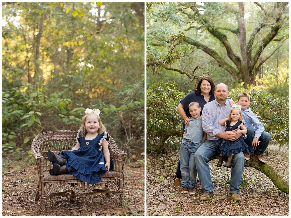 cute family pictures in the woods in Ocean Springs