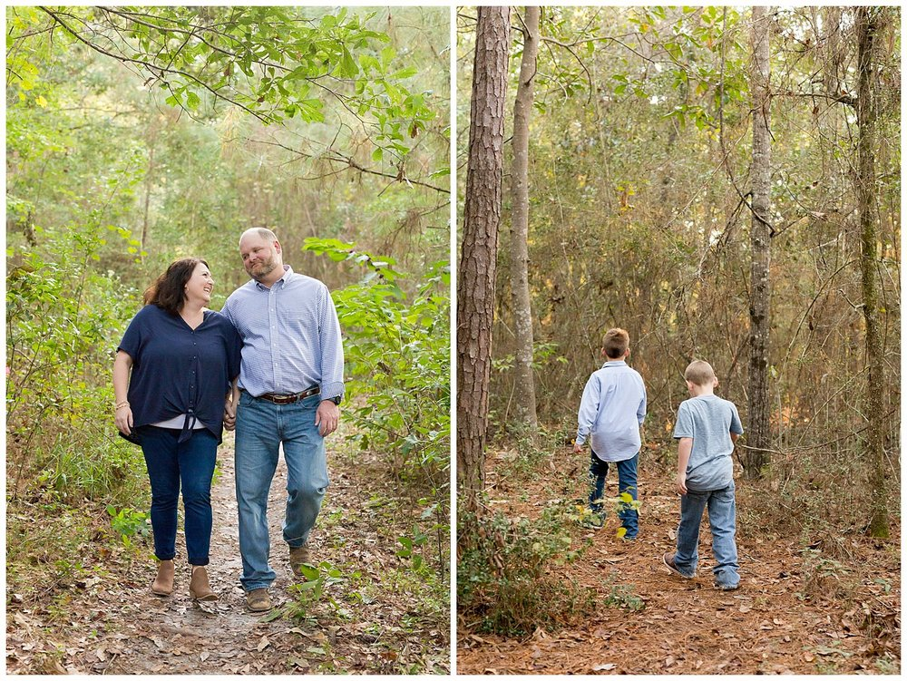family walking in the woods - Ocean Springs family photographer