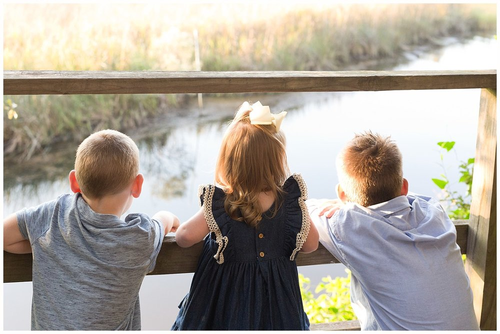 3 siblings looking at bayou from overlook on nature trail