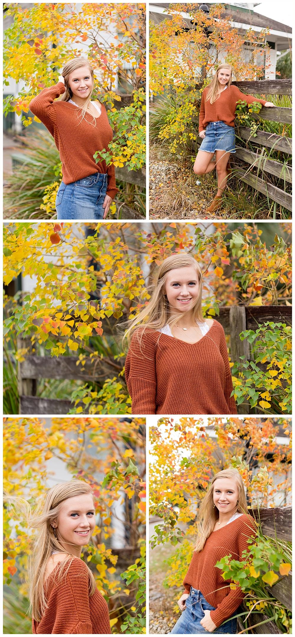 fall senior pictures in Ocean Springs