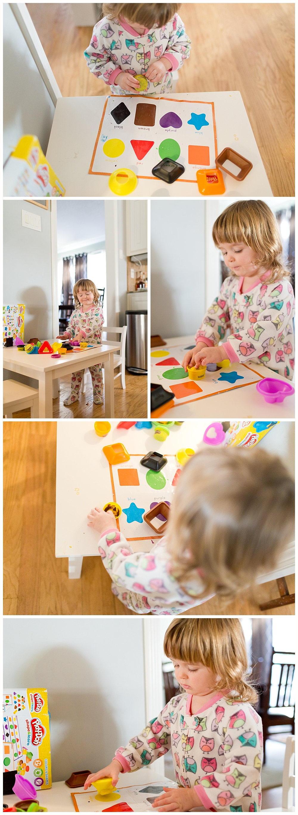 toddler girl playing with Play-doh in pajamas