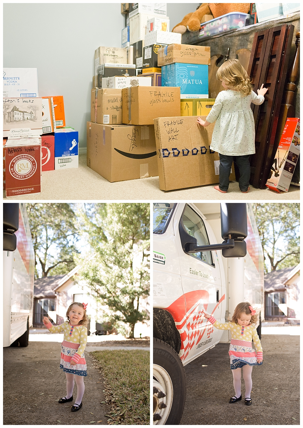 toddler girl with moving boxes and moving truck in driveway