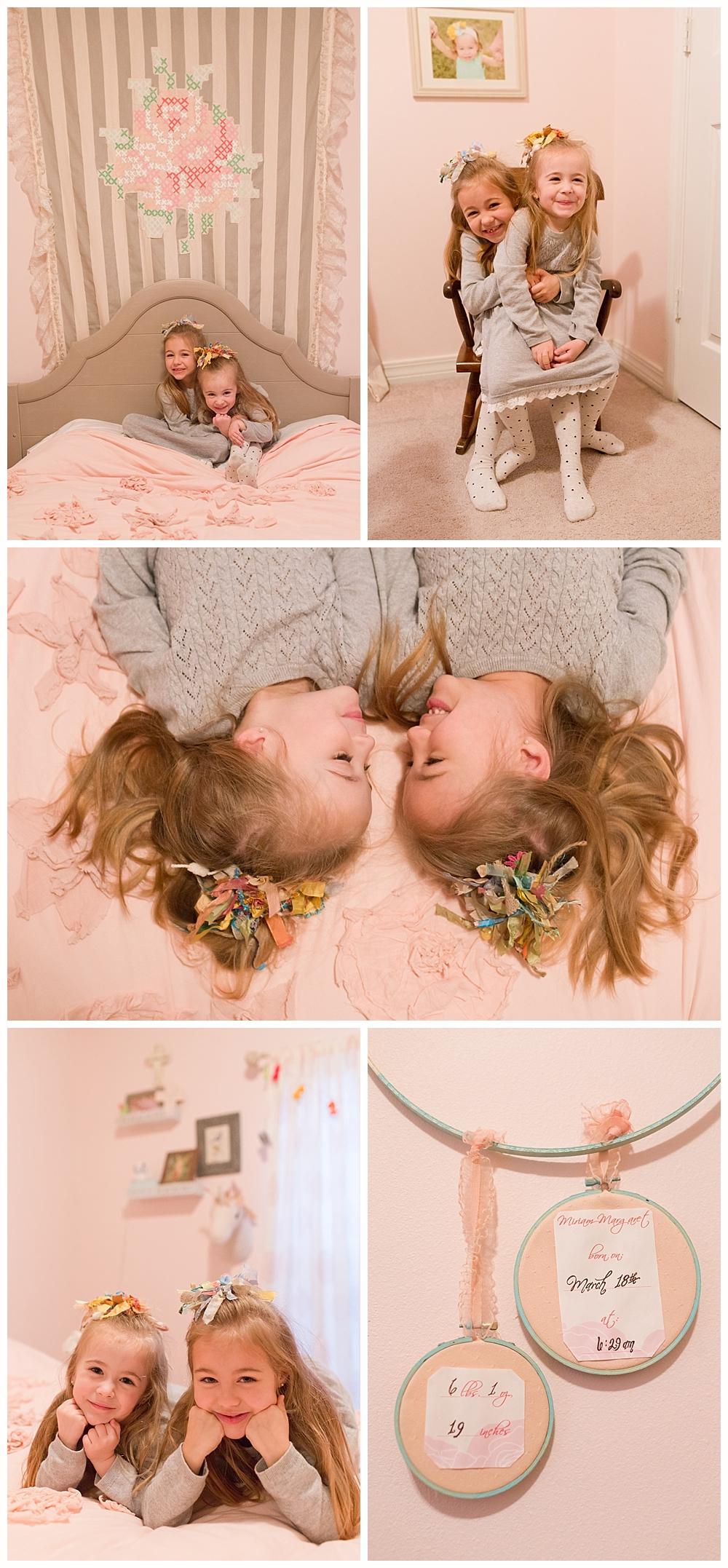 sisters in cute pink bedroom - Ocean Springs family photographer