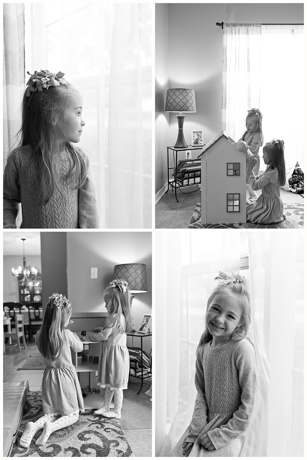 sisters playing with dollhouse - candid family pictures at home in Ocean Springs, MS