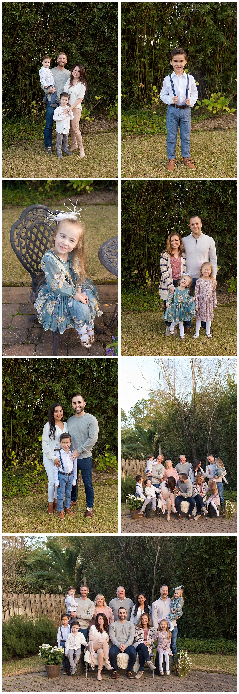 extended family photos in backyard in Ocean Springs, Mississippi