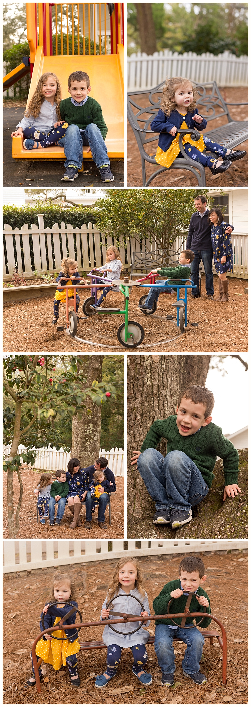 fun candid family pictures on playground in Ocean Springs, Mississippi