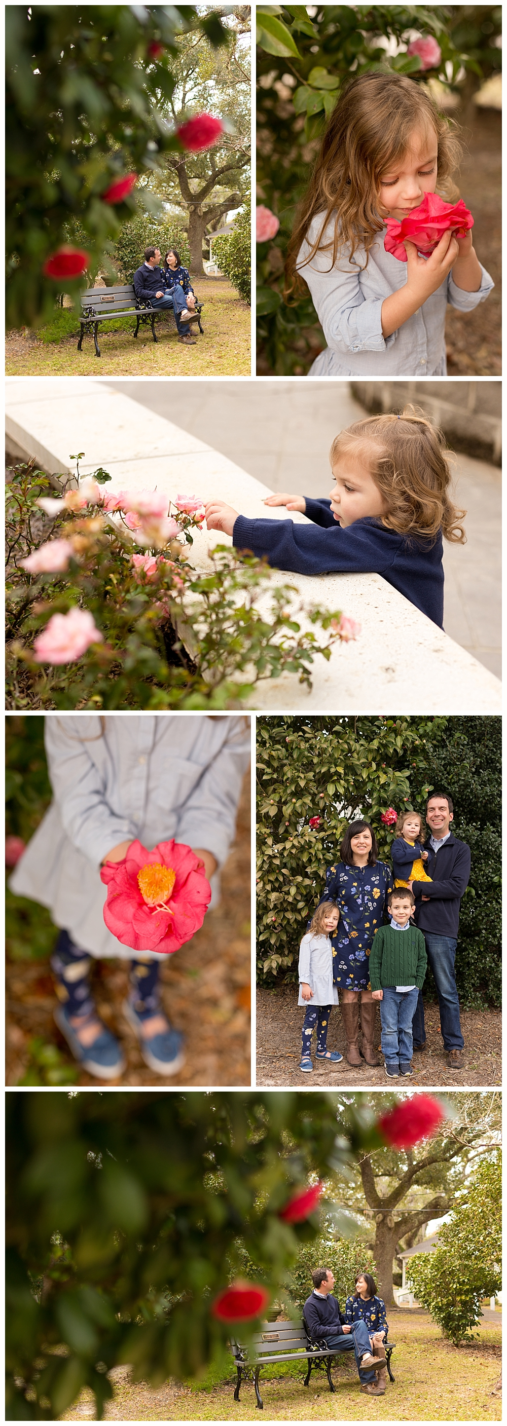 family photos with camellia flowers - Ocean Springs family photographer